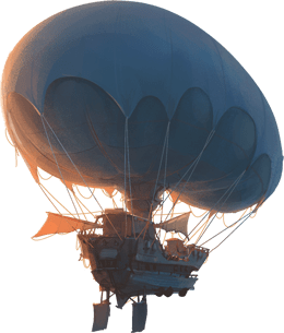 illustrazione colorata dell'esplorandiero, un mezzo volante
