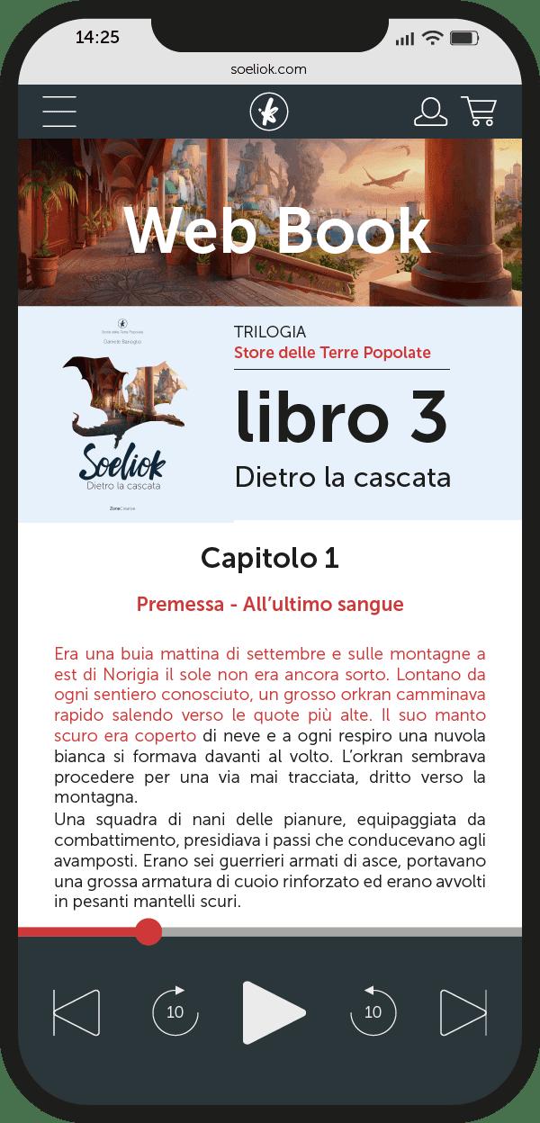schermata su smartphone del web book libro 3 di Soeliok: dietro la cascata