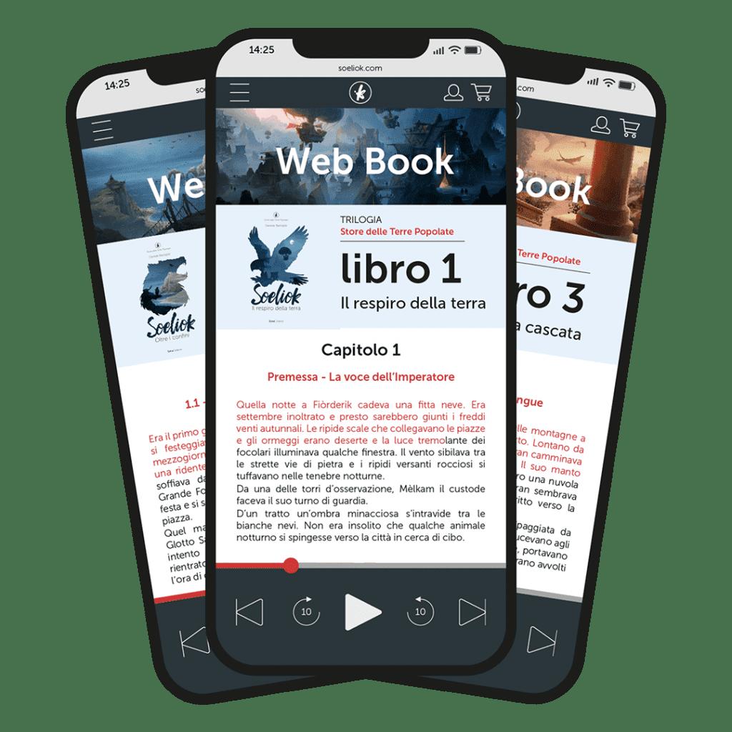 schermata su smartphone della trilogia web book di Soeliok: storie dalle terre popolate