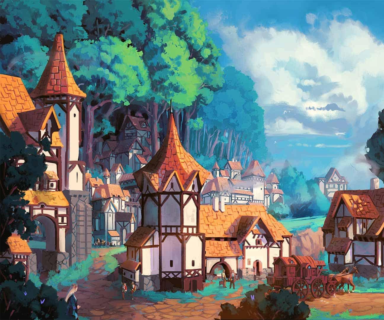 illustrazione di borgobrando con le case e il bosco