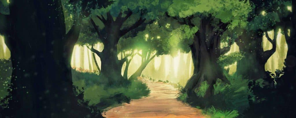 illustrazione di un bosco con sentiero nei verdiconfini liberi