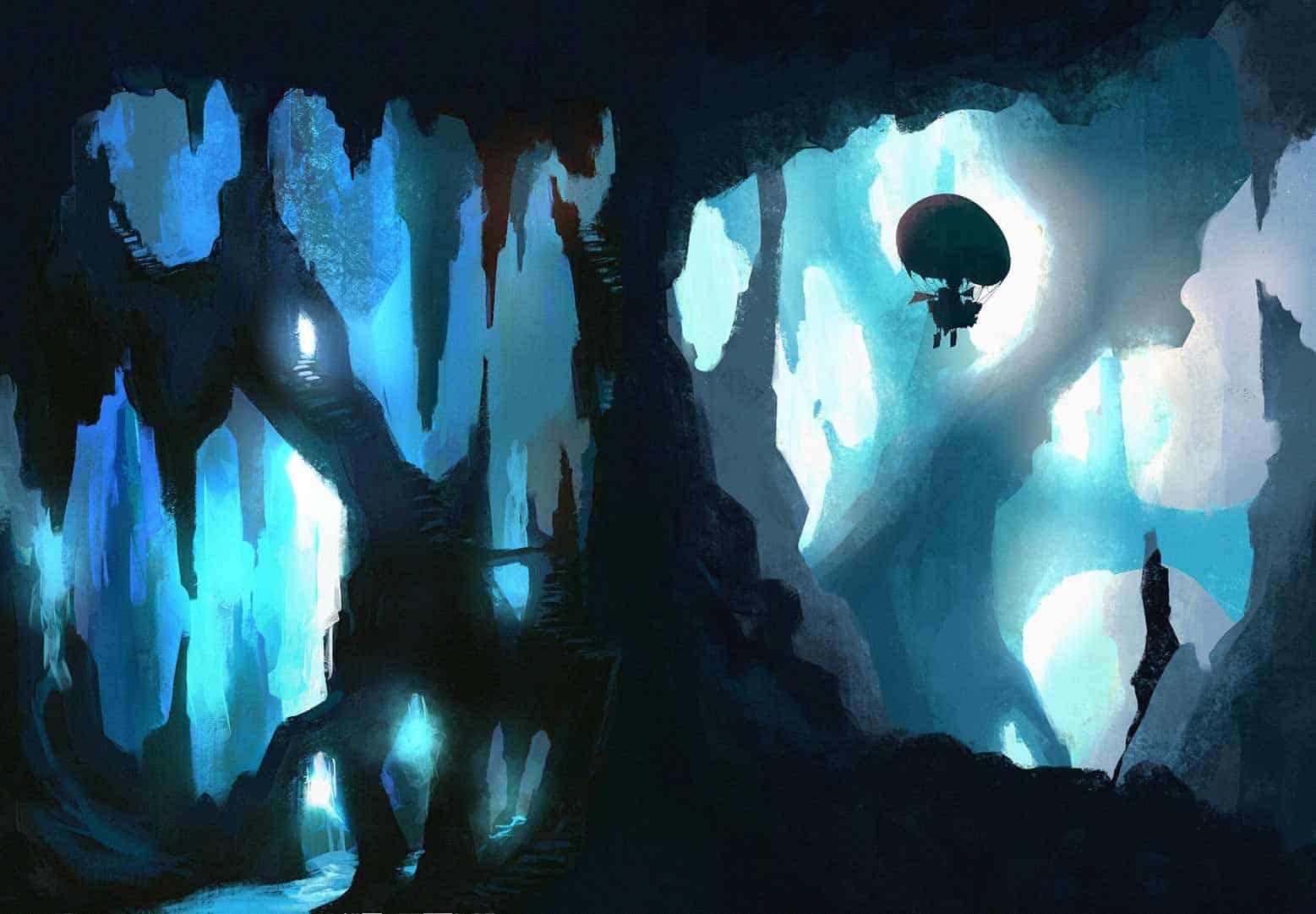 illustrazione delle grotte scavate dai nani in cui vola un mezzo volante