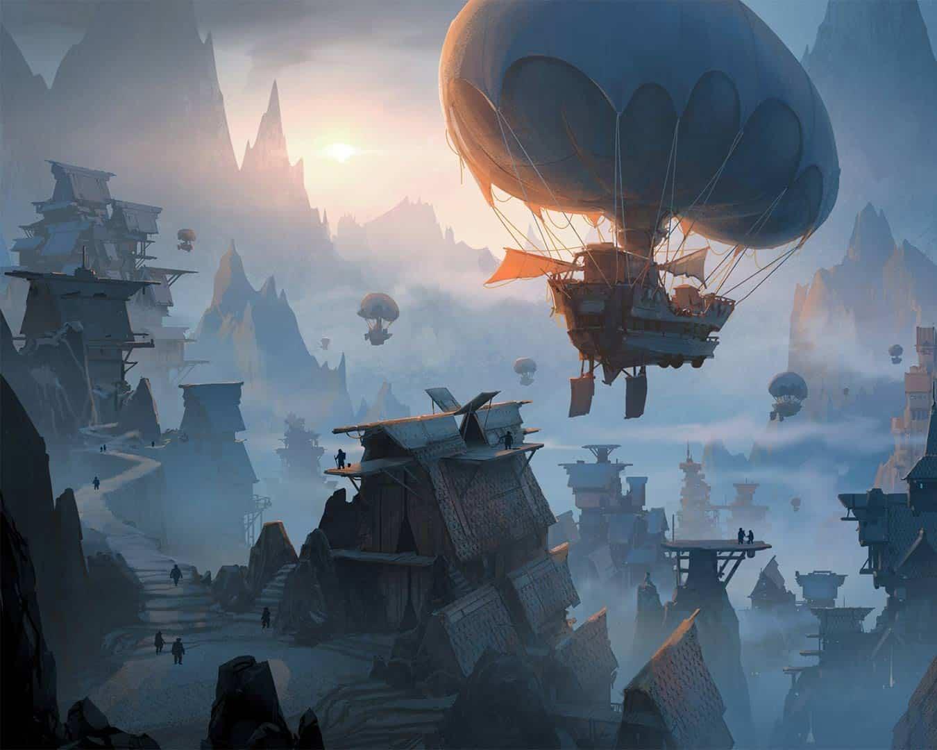 illustrazione colorata di Fiorderik durante l'alba, un mezzo volante in primo piano