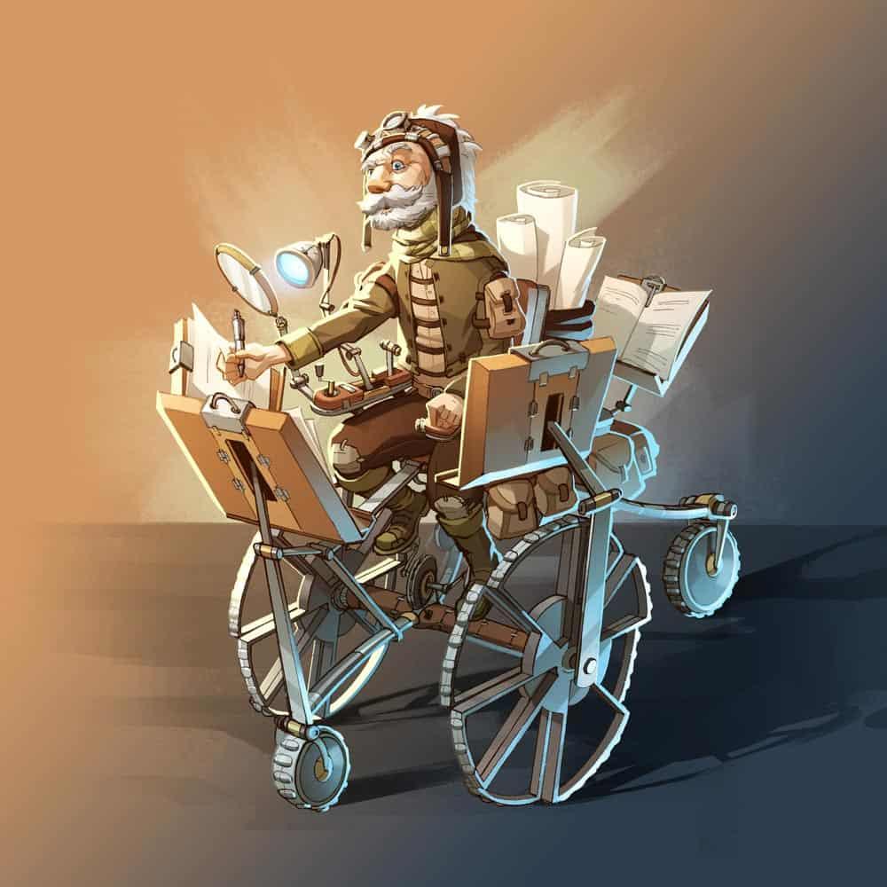illustrazione colorata di Eldur sulla sedia mobile
