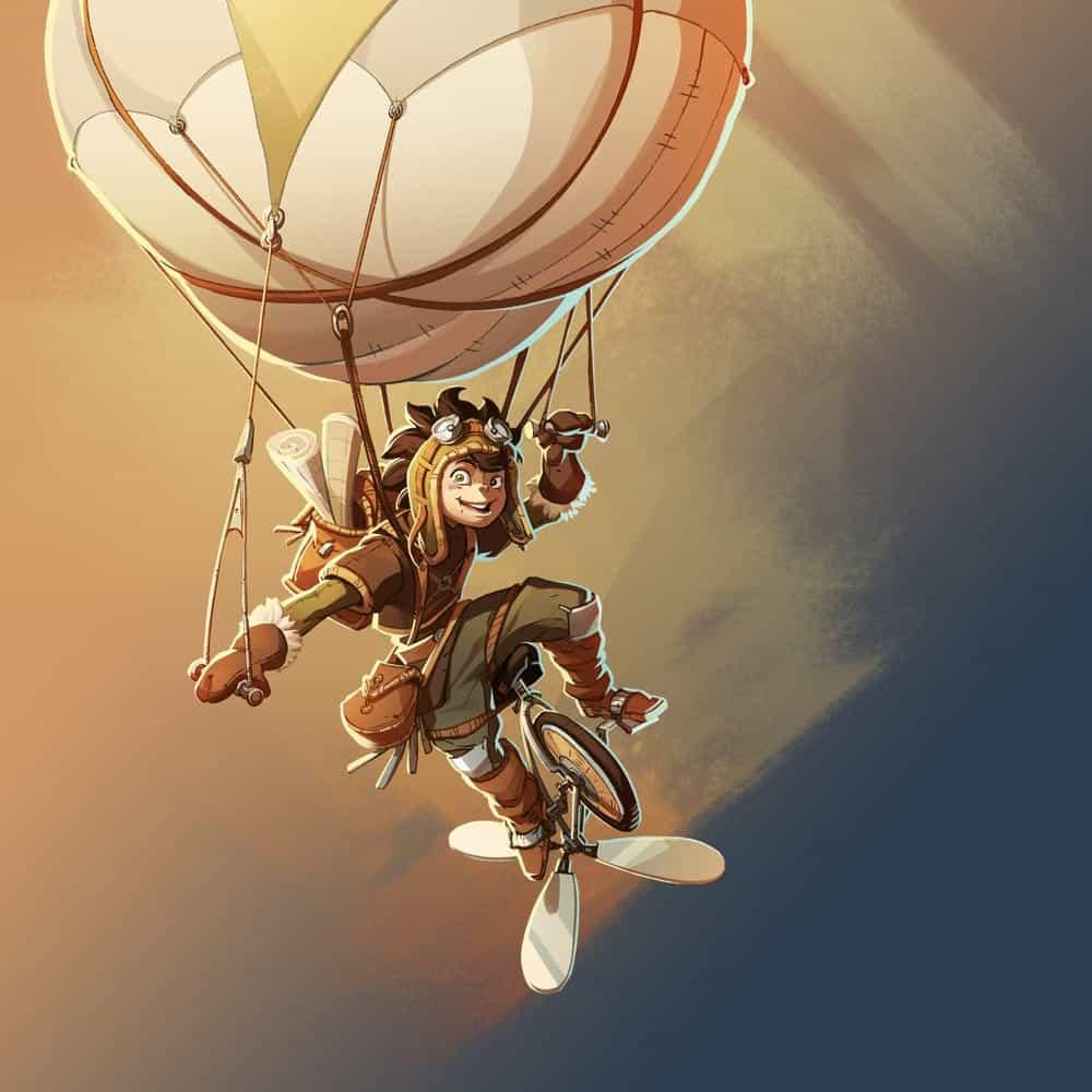 illustrazione colorata di Gaman che manovra lo zaino a sospensione con elica a pedali