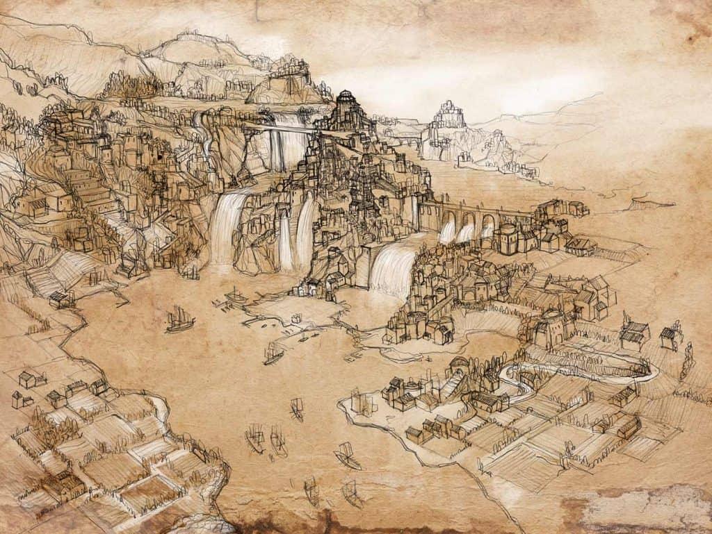 illustrazione su pergamena di glendark, costruita su tre livelli di sistema di laghi e cascate