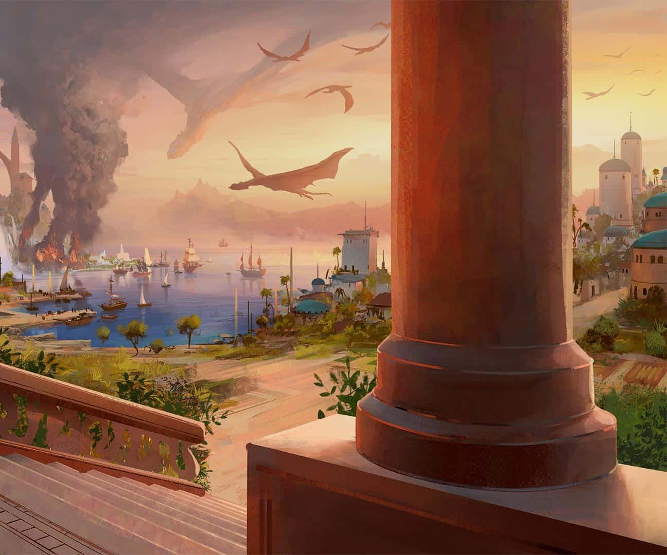 illustrazione della capitale di glendark, con i draghi al tramonto