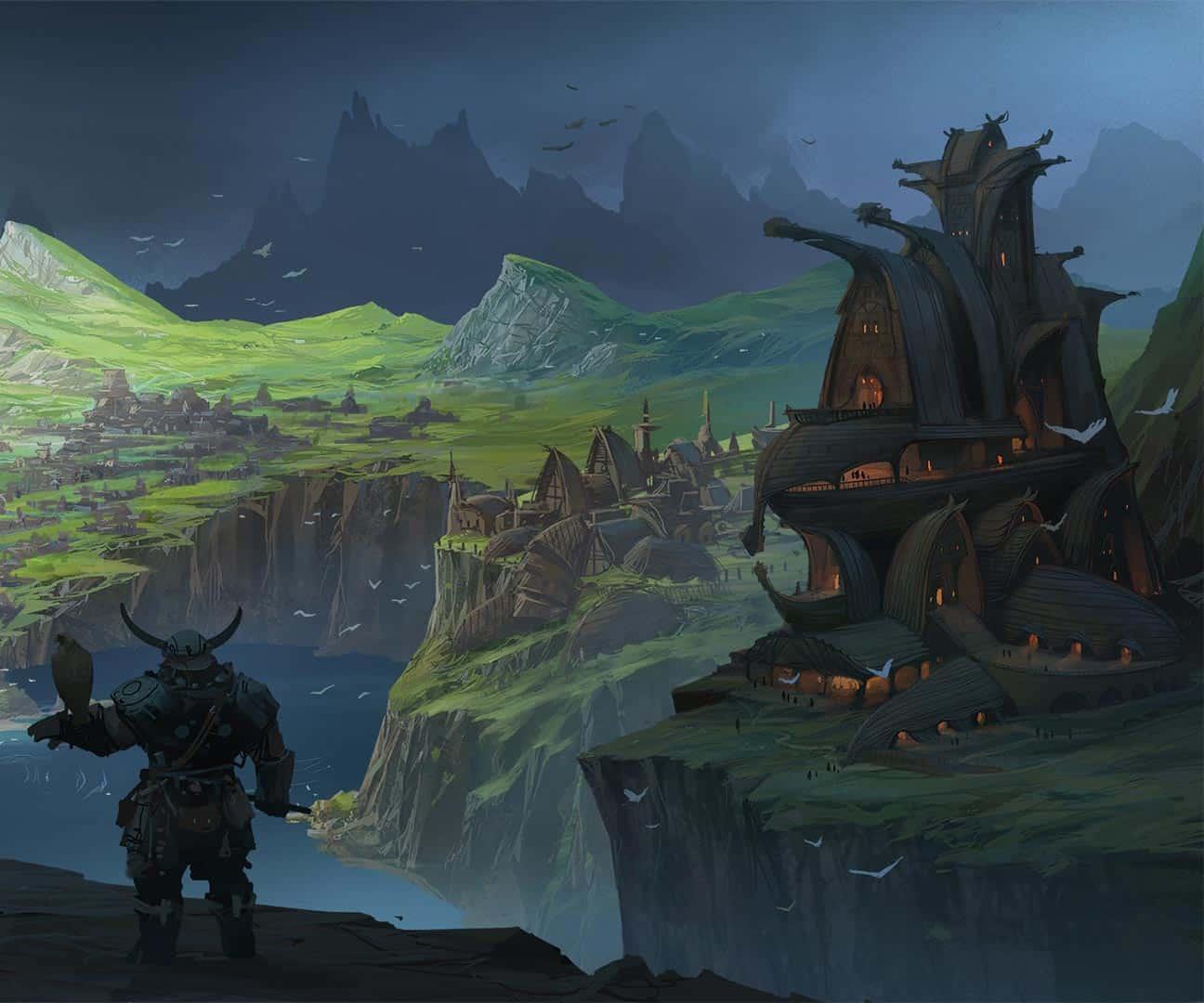 illustrazione di norigia, nano che guarda la alta scogliera con un falco con le case che hanno come tetti degli scafi rovesciati