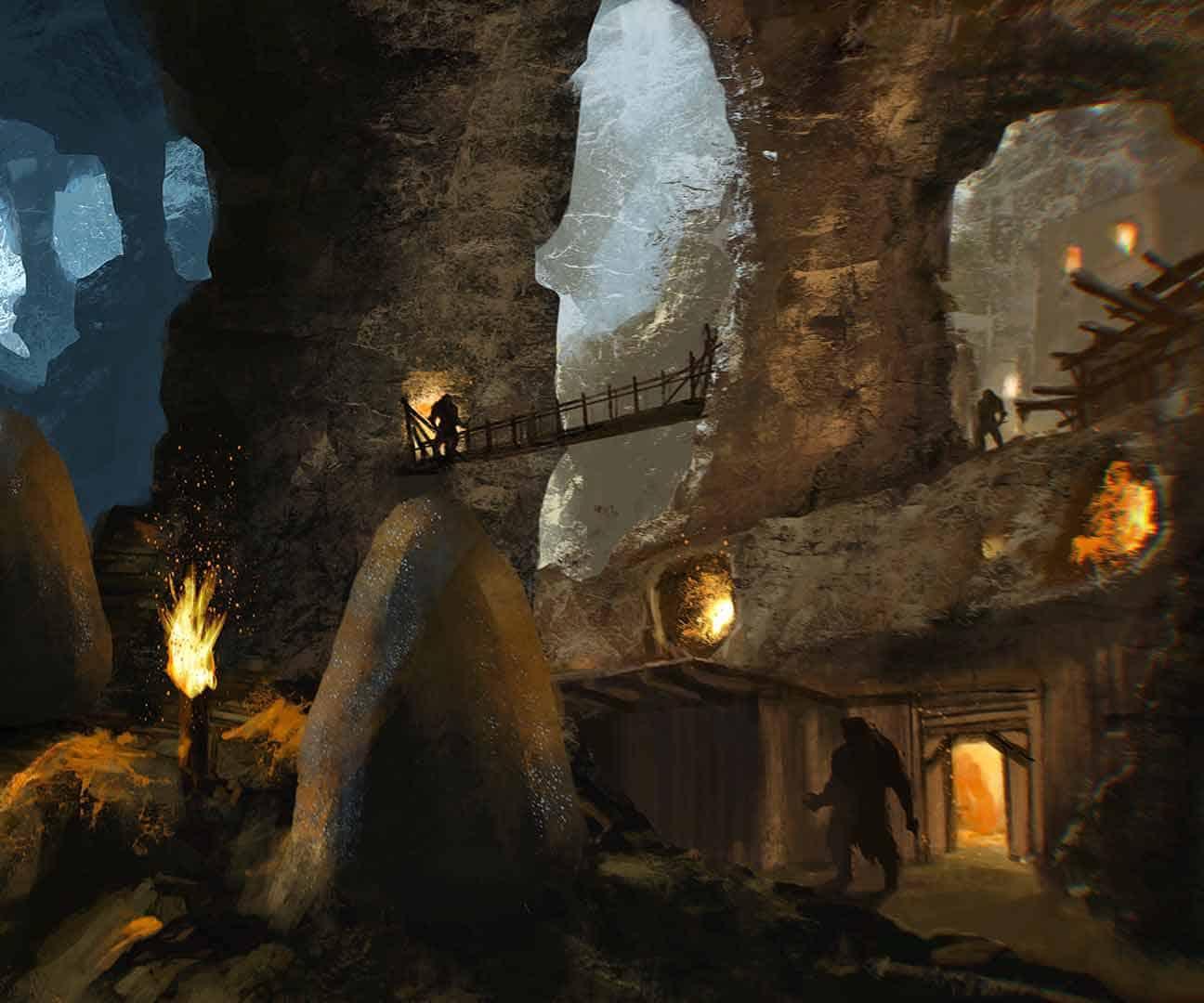 illustrazione dell'interno di una caverna degli orkran