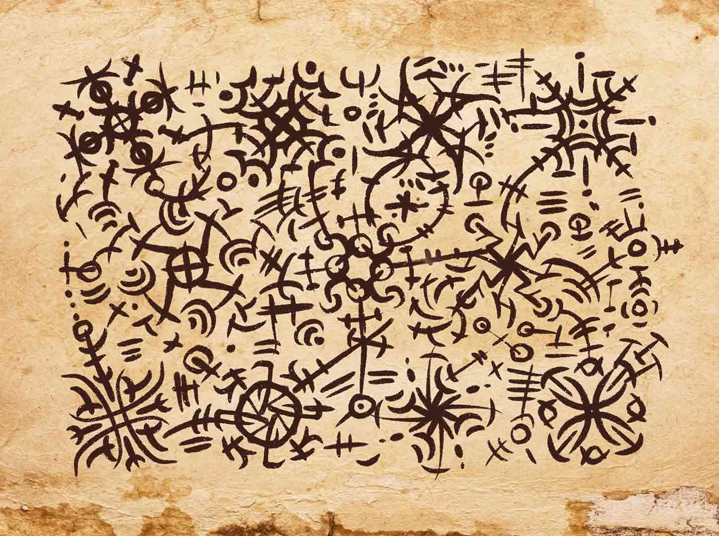 reperto su pergamena che mostra la lingua scritta degli orkran