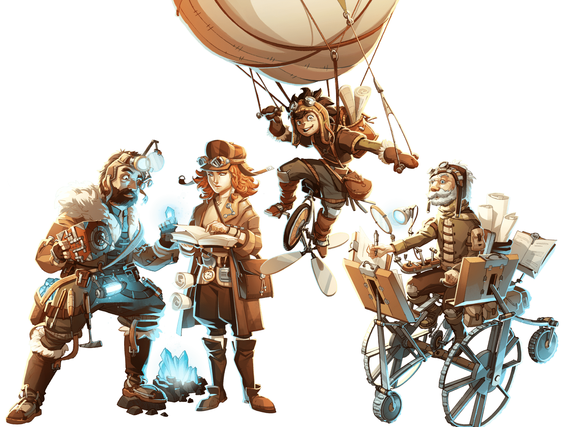 illustrazione colorata di 4 personagi di Soeliok: Nodfri, Eldur, Eira, Gaman